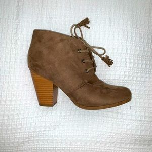 Heeled Tan Lace-Up Booties